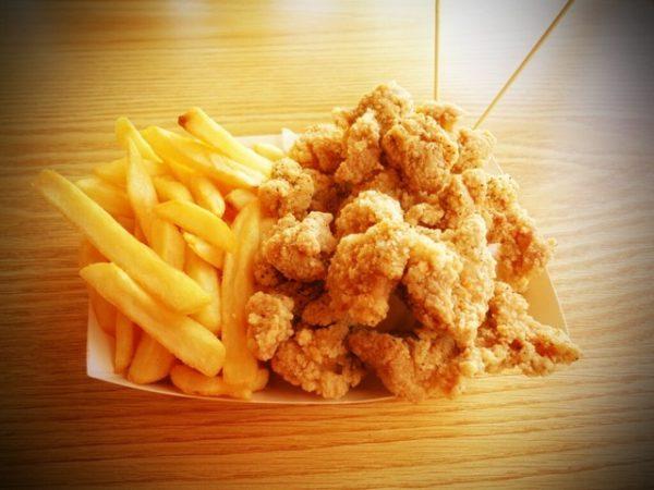 Popcorn chicken with fries 1
